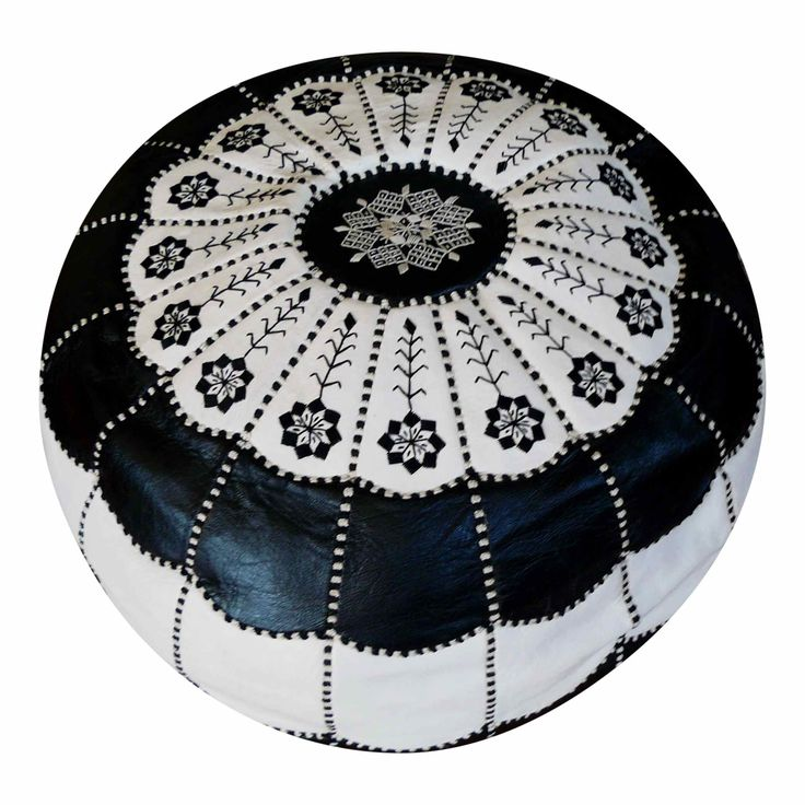 Black and white Moroccan ottoman cover  HARD TO FIND MONOCHROME STYLE