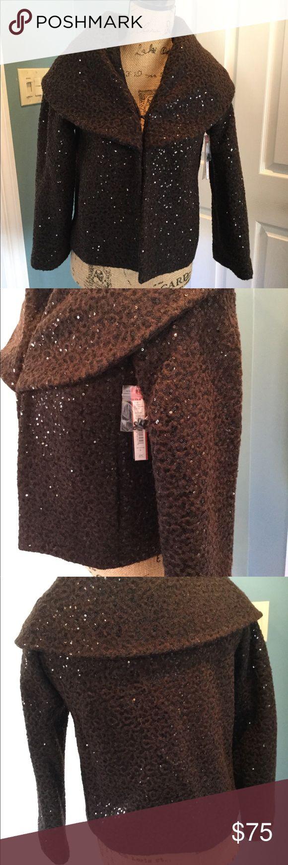 New Alice & Olivia wool sequin coat New with tags. Brown sequin Alice & Olivia coat. Size small. Alice + Olivia Jackets & Coats