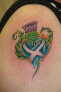 Thistle and heart Scottish tattoos
