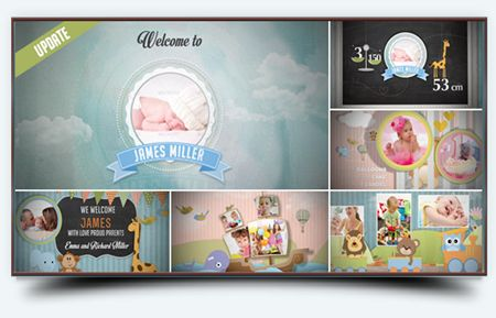 Идеальный способ показать новорожденного ребенка, мальчик или девочка. Проект также может быть использован в качестве приглашения, детское фото галереи, фотоальбом, чтобы отпраздновать день рождения ваших детей, детские приглашения и многое другое.