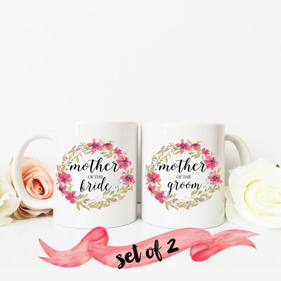 MOTHER of the BRIDE and groom Coffee Mug / Floral Wreath Present Favor for Parent 11 oz or 15 oz Ceramic Dishwasher Safe / Great Gift Quote