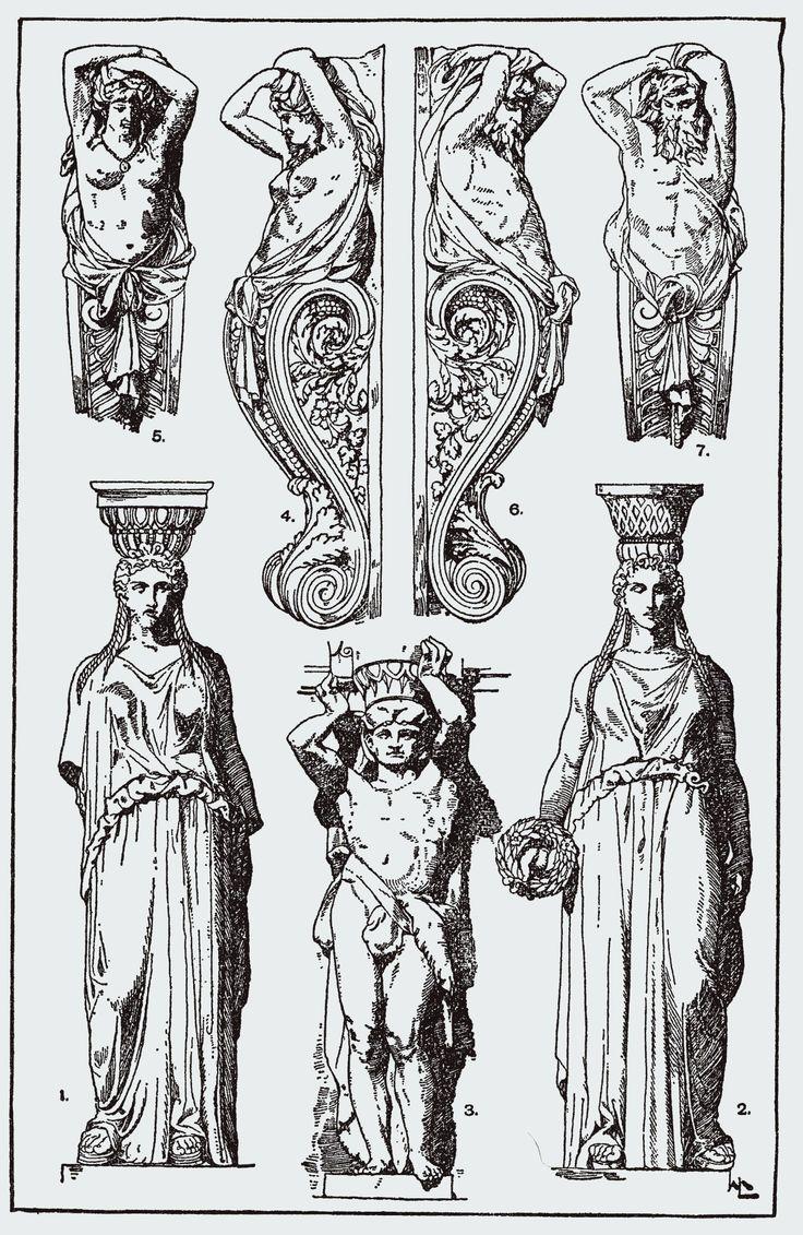 Atlantes (n. 3, 6 e 7) e cariátides (n. 1, 2, 4 e 5). Livro de ornamentos de 1898.
