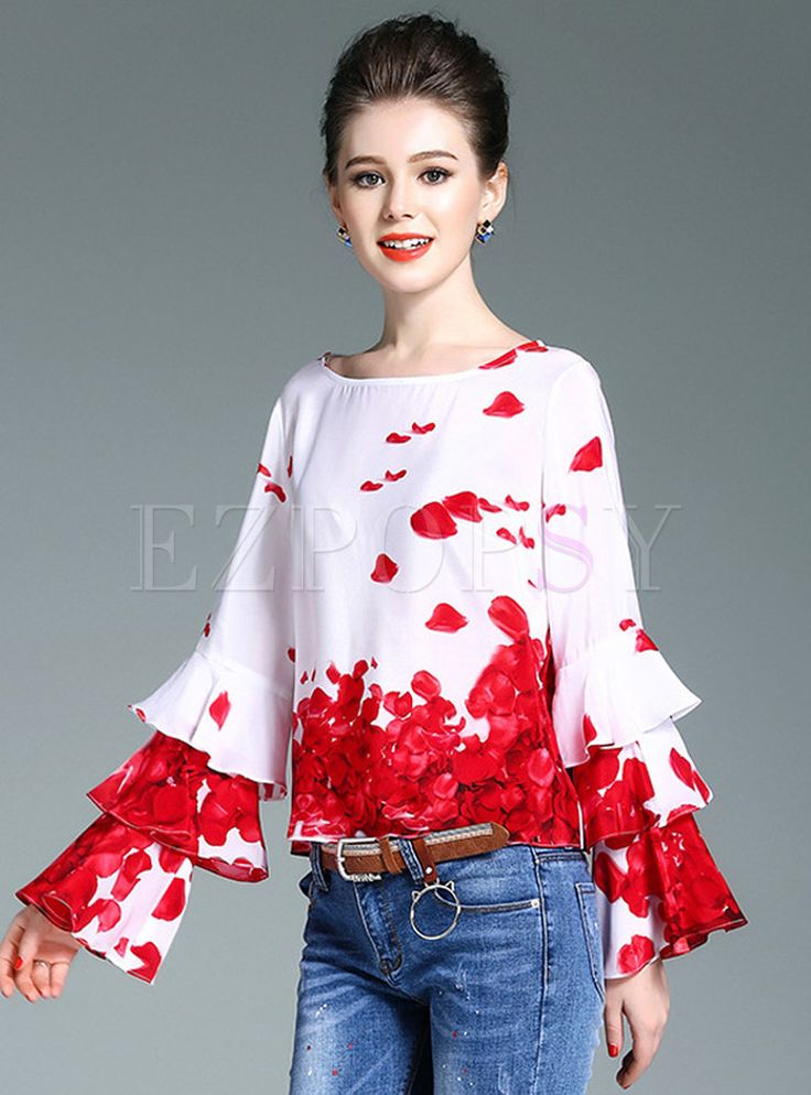 Shop for high quality Sweet O-Neck Print Flare Sleeve Silk T-Shirt online at cheap prices and discover fashion at Ezpopsy.com