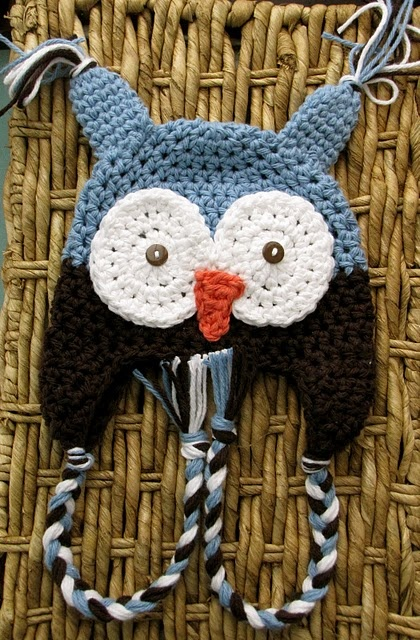 Owl crocheted hat pattern infant-link to hat included