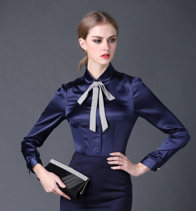 2016 new Satin Shirt Women Long sleeve peter pan collar silk Blouses women work wear uniform office OL shirt simple body tops in   Attention:1. About Color:As different computers display colors differently, the color of the act aus Blusen & Shirts auf AliExpress.com | Alibaba Group