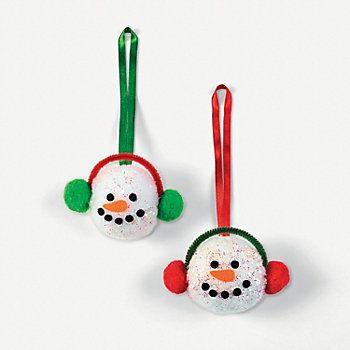 Pom-Pom Snowman Head Christmas ornaments - cute