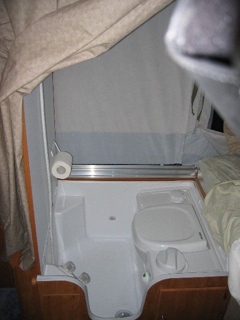 folding camper head, toilet and shower combination