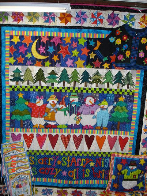 Row Quilt With Snowmen Stars And Trees