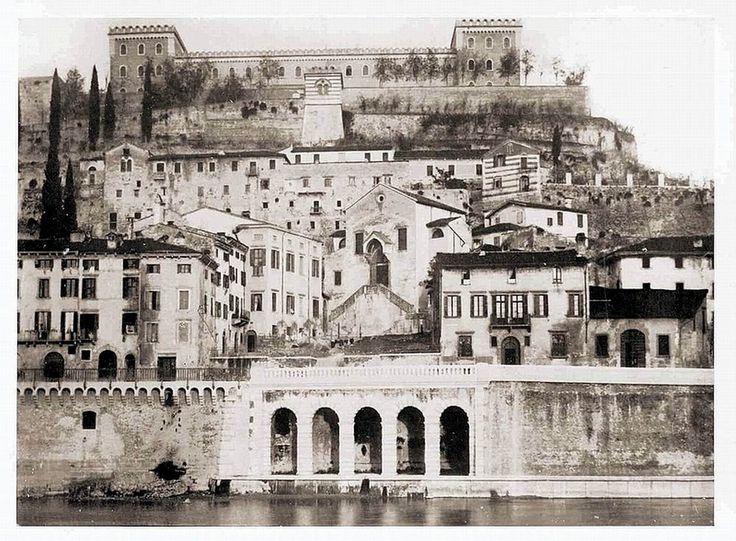 Verona - Castel S.Pietro e Santa Libera (prima degli scavi del teatro romano)