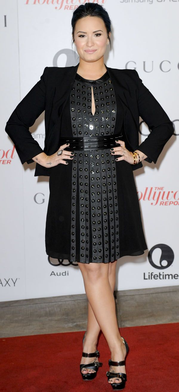 Demi Lovato wearing a sleeveless Belstaff dress