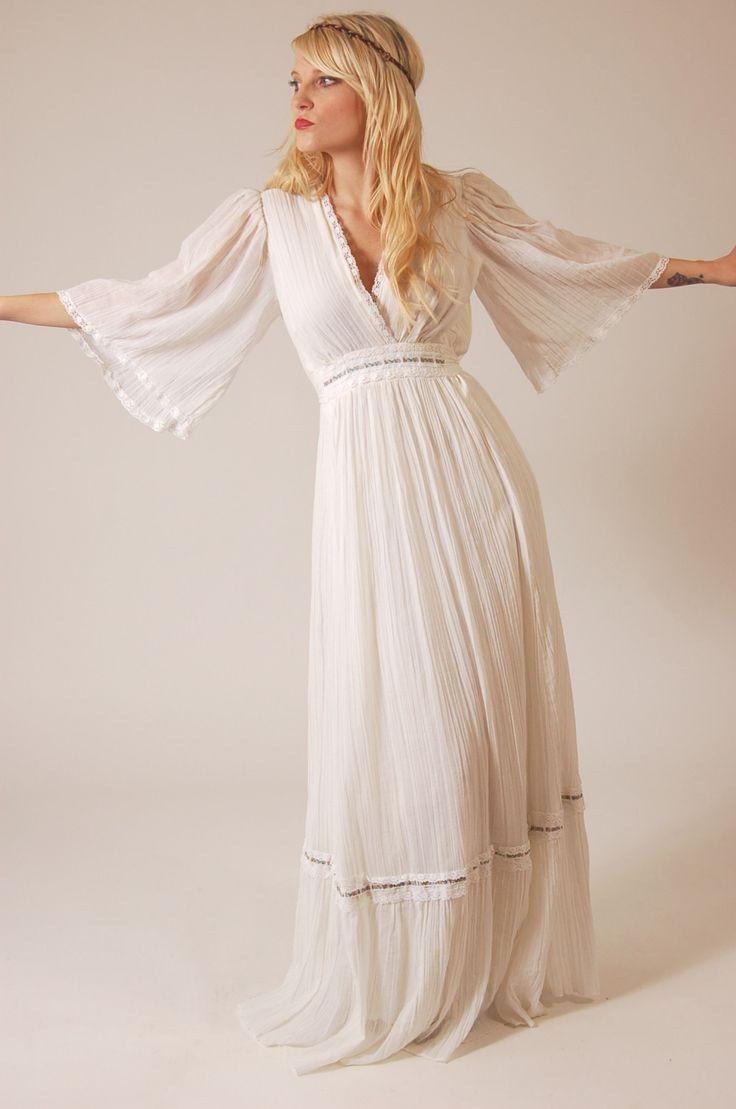 Vintage 70s White Boho PRINCESS Wedding Dress. $65.00, via Etsy.