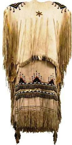 Native American Indian Traditional Clothing Apache, Dress, Beaded Hide, Fringed, Tin Cone Accents