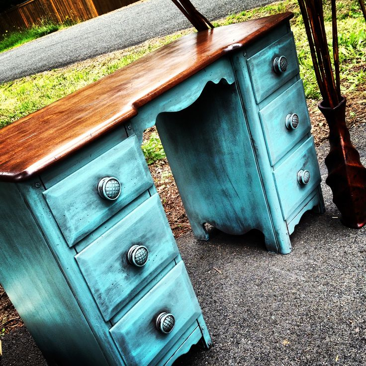 Refinished desk by C.J. Walk  refinished and customized wooden desk, painted teal, and stained top, shabby chic,  rustic, antiqued, glazed, faux