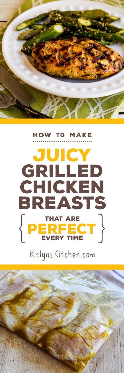 Grilling season will be here soon, and this posts will tell you How to Make Juicy Grilled Chicken Breasts That Are Perfect Every Time. Use my method for juicy grilled chicken on an outdoor grill, stove-top grill pan, or on an electric grill if you prefer. This post also has a lot of recipe links for chicken that's low-carb, Keto, low-glycemic, and gluten-free. Enjoy!  [KalynsKitchen.com] #GrilledChicken #GrilledChickenBreasts #JuicyGrilledChickenBreasts #PerfectGrilledChickenBreasts