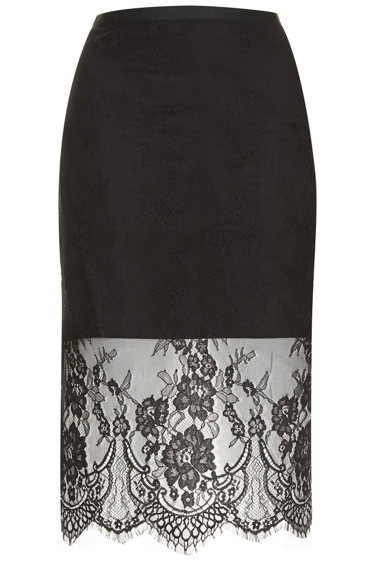 Topshop Soft Lace Pencil Skirt in Black #style #black #skirt