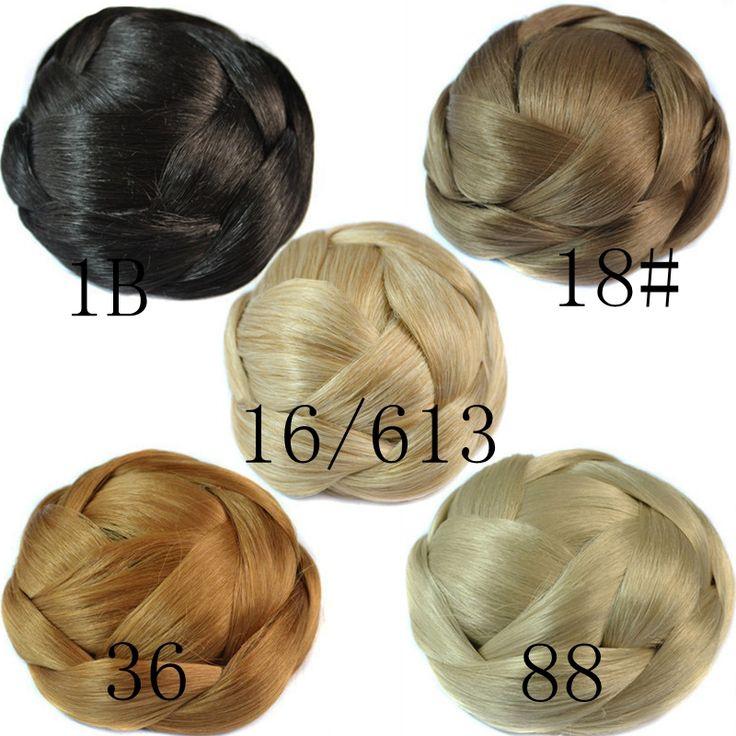 Q85Fashion Women Hair Bun 5 colors Available Braided Chignon Clip In Fake Hair Bun Pretty Synthetic Hair Bun Pieces Updos Hairpiece.