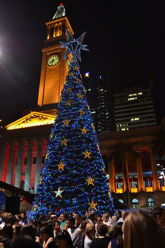 Christmas tree, King George Square, 2010. Brisbane City Hall as back-drop. #brisbanecityhall