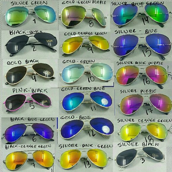 2 Aviator Sunglasses unisex Mirror Colored Lenses Aviator Sunglasses unisex Mirror Colored Lenses   BUY 1 for 9.00 BUY 2 for 14.00  BUY 3 for 20.00  BUY 4 for.25.00 1-silver green 2-Black black 3-silver black 4-gol black  5-Pink black  6- black blue green 7-black orange green 8-gold green purple 9-gold orange green 10-gold green 11-gold blue gree 12-hold blue 13-silver pink green 14-silver bkue green 15-silver blue 16-Silver pink purple 17-Silver purple 18-silver orange green To buy just…