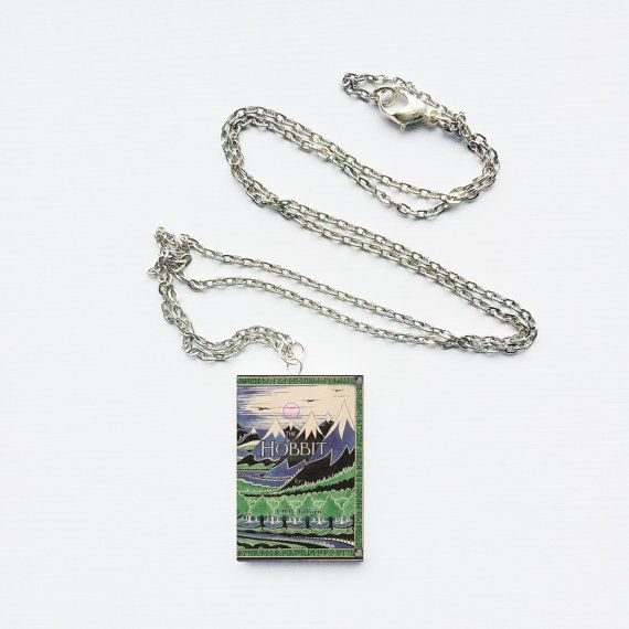 Mini book necklace with Hobbit cover. To make sure you always have your favorite book with you. #hobbit #necklace #book