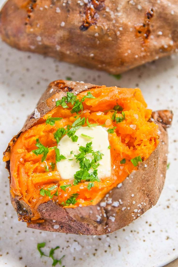 Our Air Fryer Baked Sweet Potato recipe results in a sweet potato baked to perfection! Quick and easy side dish that everyone will enjoy.