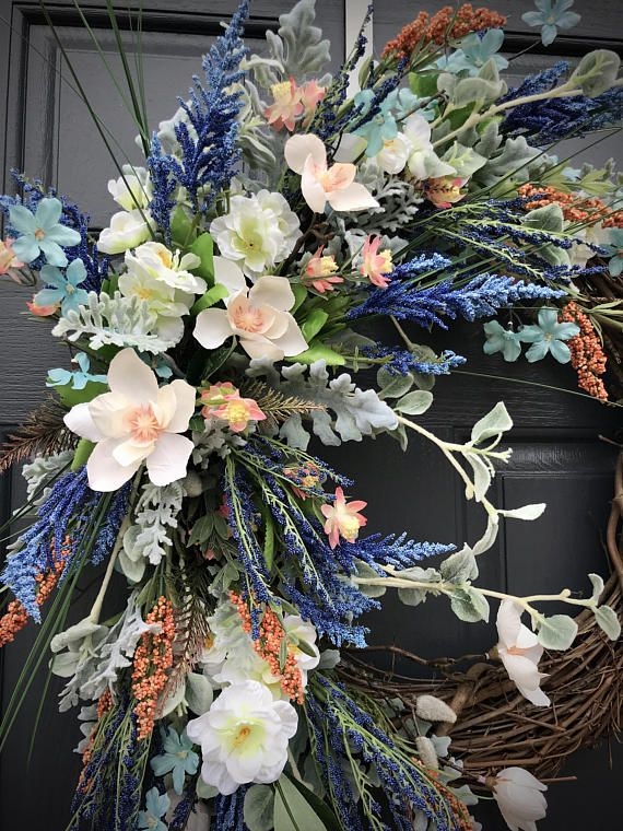 Spring Wreath, Spring Door Wreath, Gift for Her, Colorful Wreath, Spring Decor, Housewarming Gift, Door Wreaths for Spring, Multicolors I love the way this wreath turned out! I added multiple colors of blue, coral and white intermixed with soft shades of green. It is complex and