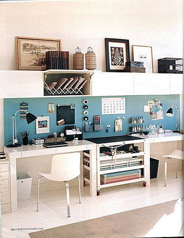 work space, against a wall, but organization inbetween work surfaces could work