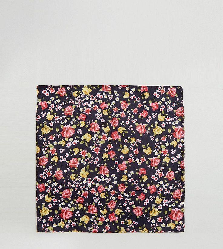 Reclaimed Vintage Inspired Pocket Square In Black Floral Print - Black