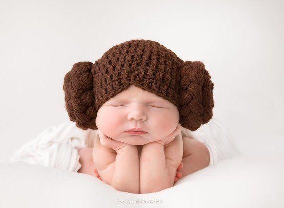6744edd2ab2 Princess Leia Baby Hat Star Wars Leah Hair Wig Hamdmade Crocheted Knitted  Newborn Toddler Photo Prop