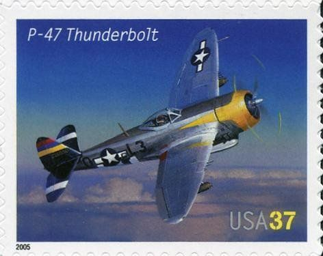 Stamp: P-47 Thunderbolt (United States of America) (American Advances in Aviation) Mi:US 3947,Sn:US 3919,Yt:US 3676