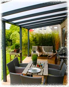 outdoor garden awning canopy  I am thinking of doing this for my garden. The clear slats in the roof means more light coming through but still providing shelter and some privacy from neighbours.