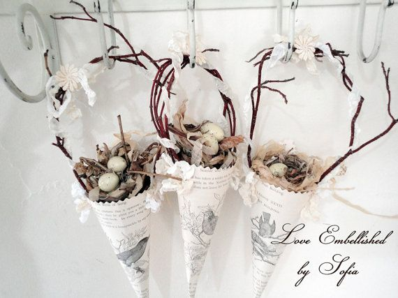 Cute little bird Tussie Mussie Cone with nest by LoveEmbellished