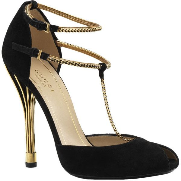 .:* L - Subtly different black and gold strappy shoes. Flapperesque [Gucci Ophelie T-Strap Pump found on Polyvore]