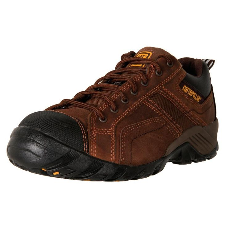 Men's Caterpillar Argon composite toe nubuck leather work safety shoes. Removable footbed, oil heat and water resistant.
