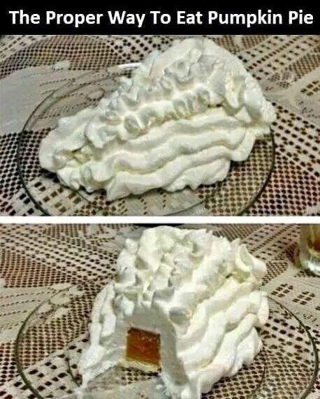 proper way to eat pumpkin pie  #thanksgiving  #memes