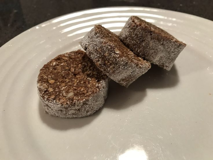 Coffee Protein Discs Makes: 36 Ingredients: 250g pitted prunes 200ml cold press coffee 100g cashews 250g oats 150g desiccated coconut 50g almond meal 5 scoops (150g) pure pr…