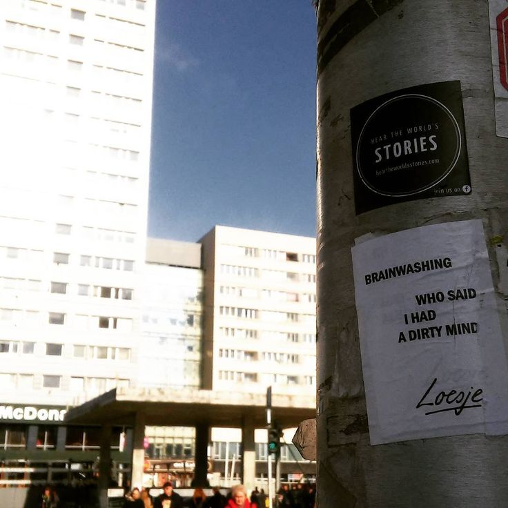 """I had! ;) Loesje covered by Loesje.  @loesje_pl @loesje_international   /Hear the world's stories.  #warsaw #downtown #dirtymind #heartheworldsstories…"""