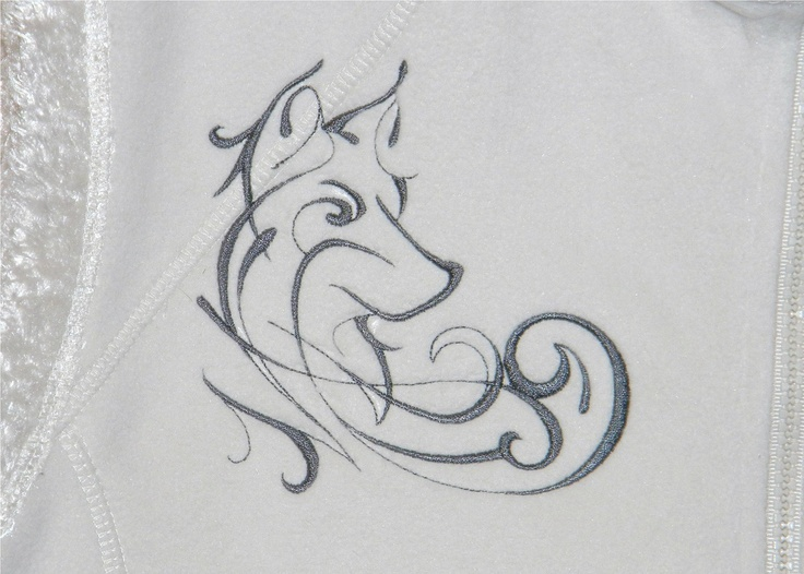 "Design detail on front of vest.  Ladies' ""Wild Hair"" Fleece Vest with Embroidered Ink Design Wolf. $48.00, via Etsy."