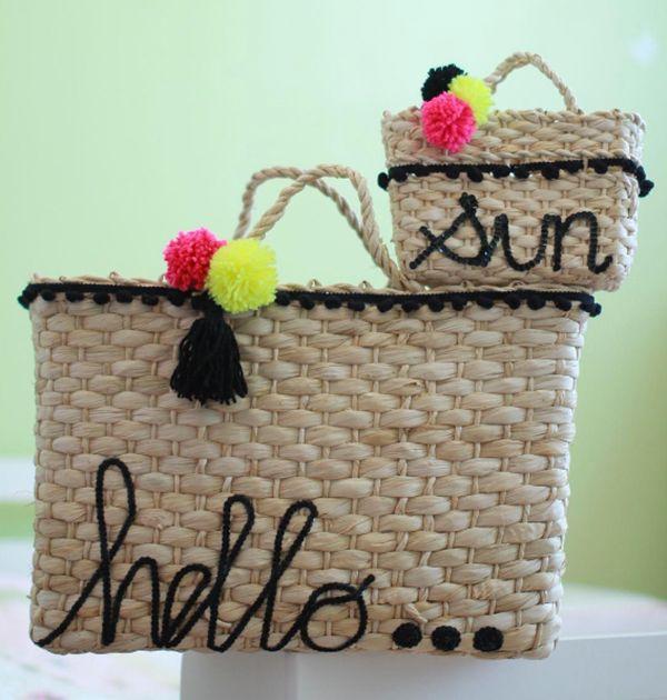 Bolsas de palha personalizadas para mães e filhas  9d69d95476c