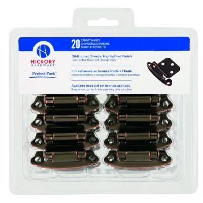 Hickory Hardware Oil-Rubbed Bronze Surface Self-Closing Flush Hinges (20-Pack)-VP244-OBH - The Home Depot