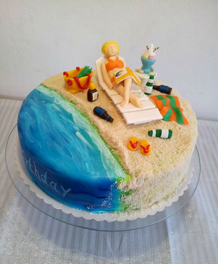 Holiday Beach Cake - Summer holiday birthday cake filled with chocolatecake and chocolate cream!! Everything is edible. Thx for looking!!