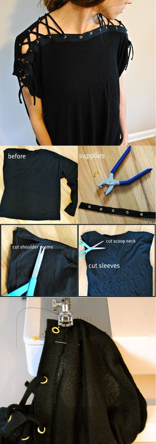 Laced Up Collar Sleeves DIY | Hot Top Design Tutorial by DIY Ready at diyready.com/diy-clothes-sewing-blouses-tutorial/: