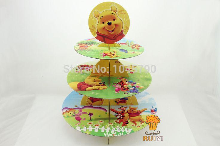 Free Shipping 1 X Cartoon Winnie Bear Cupcake Holder Birthday Baby Shower Party Cardboard Cupcake Stand Hold 24 Cupcakes