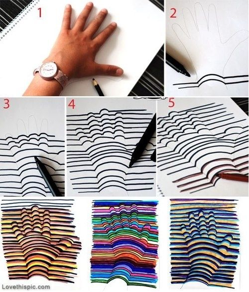 This 3D Hand Drawing Would Be Super Neat As A Wall Decoration In Your Room Diy Craft