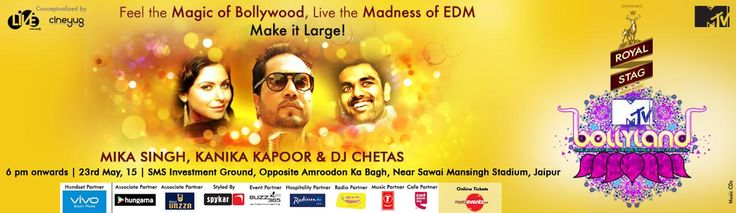#Jaipur ke Bollylanders! Mark your calendars for the 23rd of May as we're bringing the MADDEST #BDM FESTIVAL TO YOU! Get Ready to #PARTY with Kanika Kapoor, DJ CHETAS and the one and ONLY Mika Singh!!! Book Tickets : http://www.meraevents.com/event/mtv-bollyland-2015-at-jaipur&Ucode=DMSY MTV Bollyland #Bollyland #MeraEvents