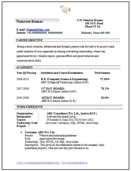 Professional Curriculum Vitae / Resume Template for All Job Seekers  Sample Template of an Excellent Computer Science and Engineering Resume Sample with Good Experience, Professional Curriculum Vitae with Free Download in Word Doc (3 Page Resume) (Click Read More for Viewing and Downloading the Sample)  ~~~~ Download as many CV's for MBA, CA, CS, Engineer, Fresher, Experienced etc / Do Like us on Facebook for all Future Updates ~~~~