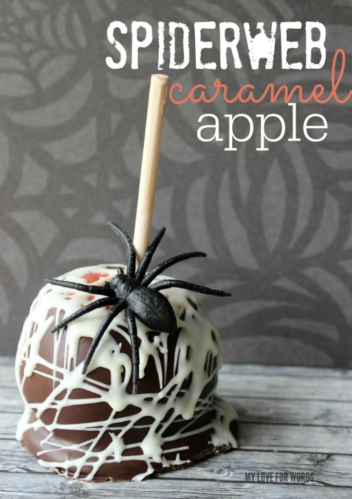 easy and delicious gourmet spiderweb caramel apple - Caramel Apple Ideas Halloween