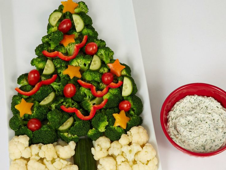 Crudite Christmas Tree with Sour Cream and Chive Dip recipe from Food Network Kitchen via Food Network