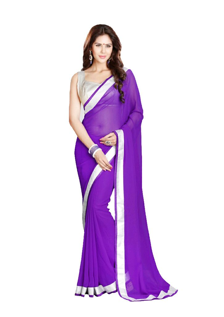 Purple Plain Georgette Designer Saree With Blouse Piece