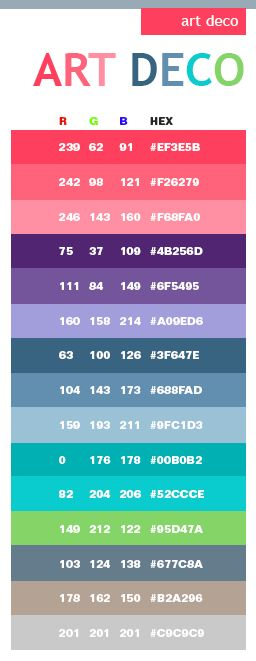 Art Nouveau Color Scheme | Art Deco color schemes, color combinations, color palettes for print ...