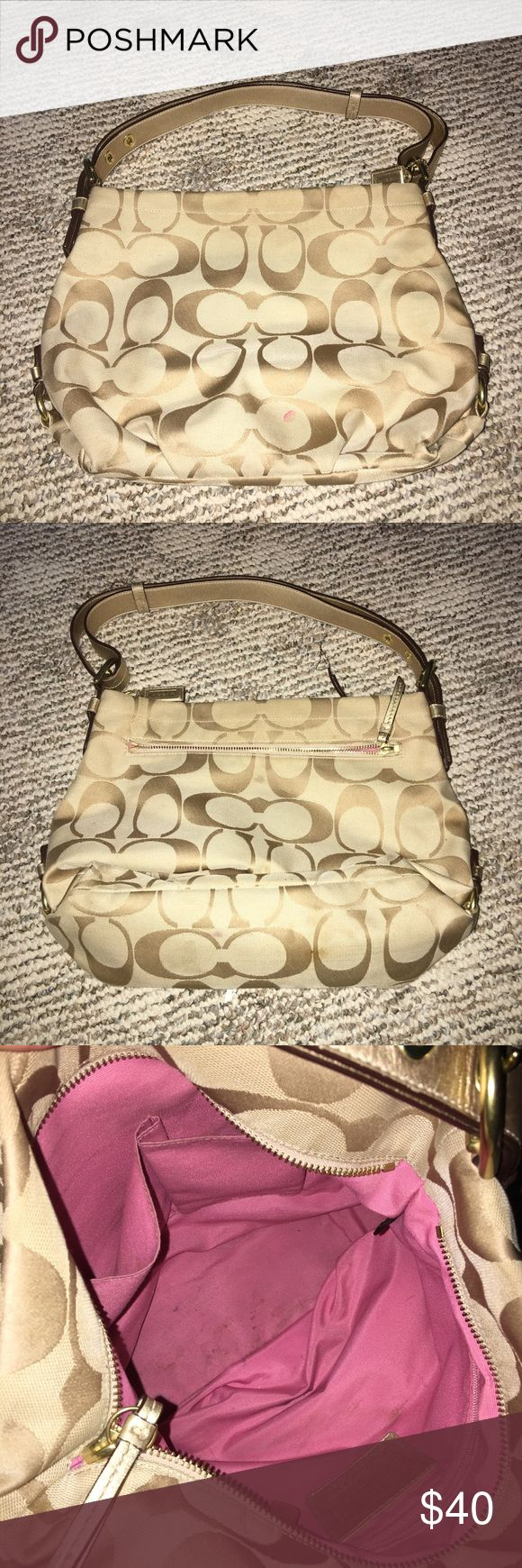 Authentic Coach beige shoulder bag! Comes from a smoke free home! Bag is in excellent condition! Still has a whole lot of life in it!! You can loosen or tighten the strap as needed! Coach Bags Shoulder Bags